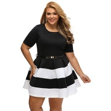 Ladies new fashion casual plus size dress 2017 summer