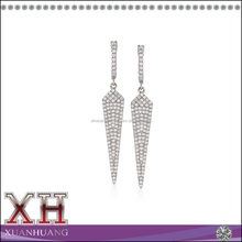 Sterling Silver White Cubic Zirconia Pointed Drop and Dangle Triangle Earrings