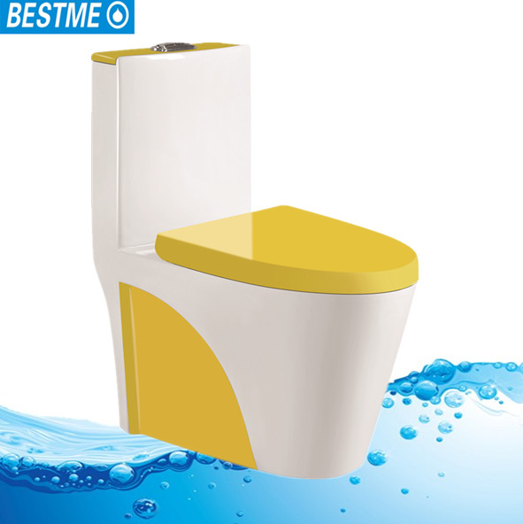 Fashion color sanitary ware One Piece S Trap ceramic Toilet for bathroom;colourful ceramic siphonic/washdown one piece toilet
