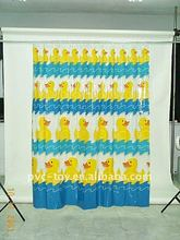 plastic pvc printed bath shower windows curtain with bath rug sets for kids
