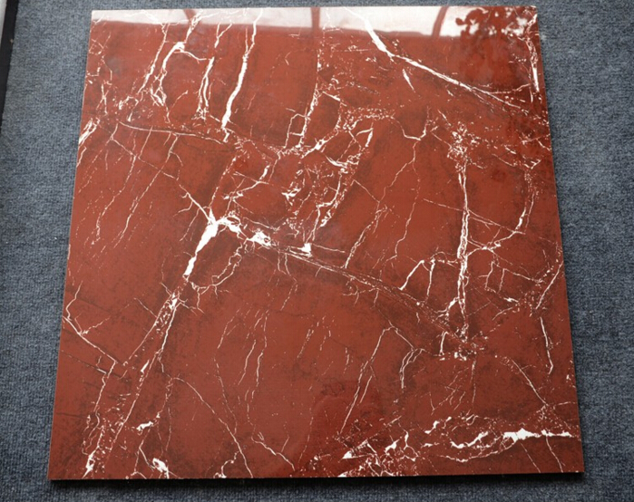 Red marble tile flooring