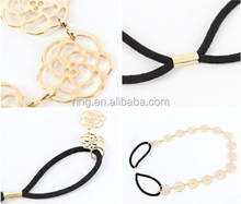 Womens Fashion Metal Chain Jewelry Hollow Rose Flower Elastic Hair Bands