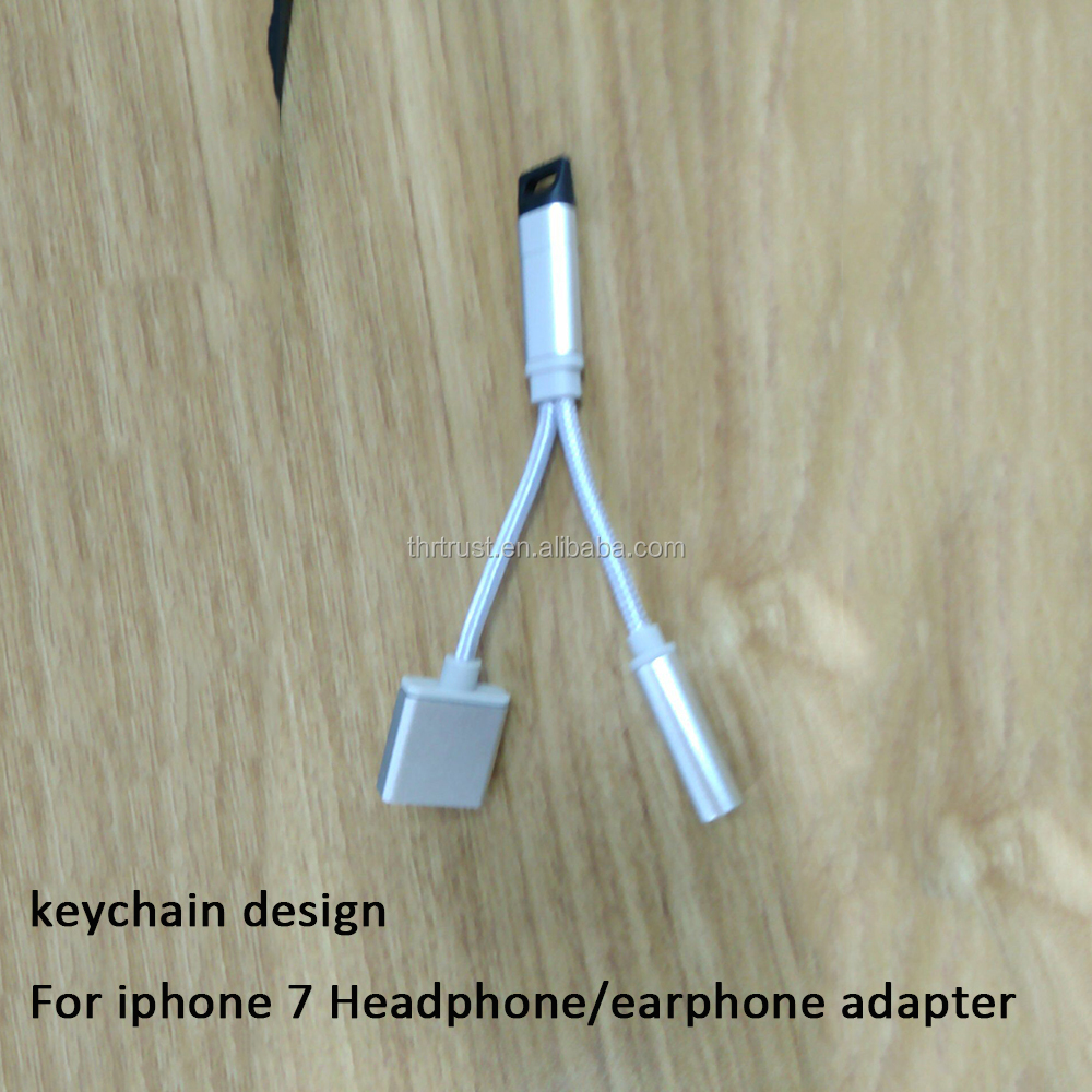 Free Sample 2In1 3.5mm Headphone Jack Nylon Cable For iPhone 7 Headphone/Earphone Adapter