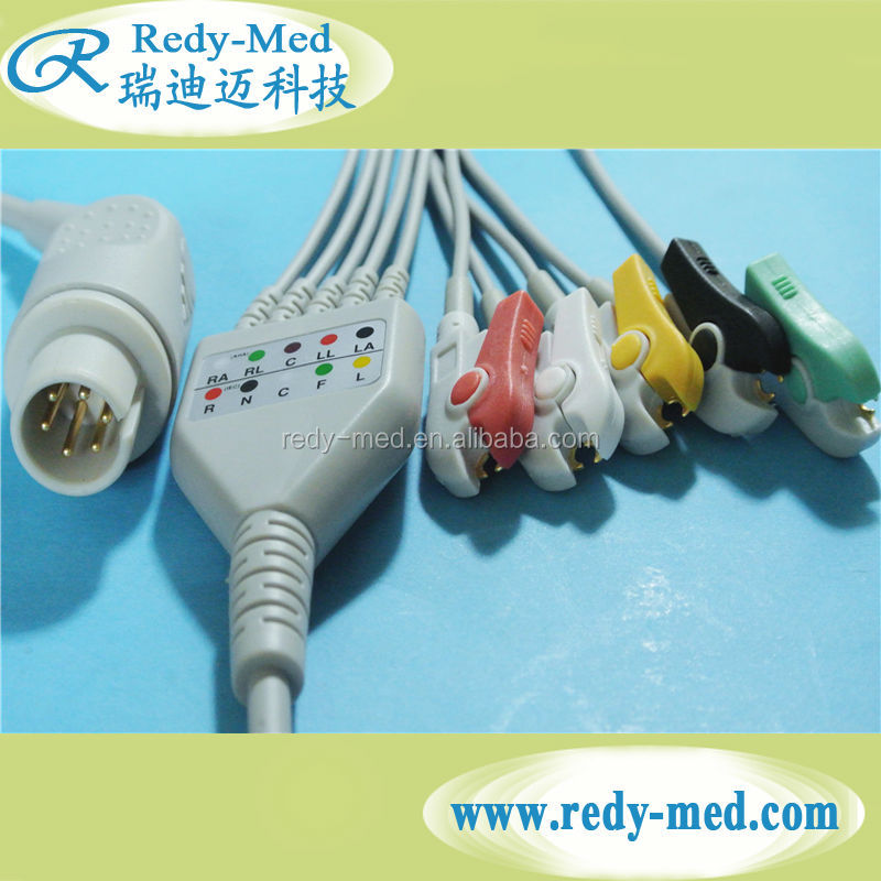 Compatible One piece AAMI 5 leads ECG cables with grabber standard