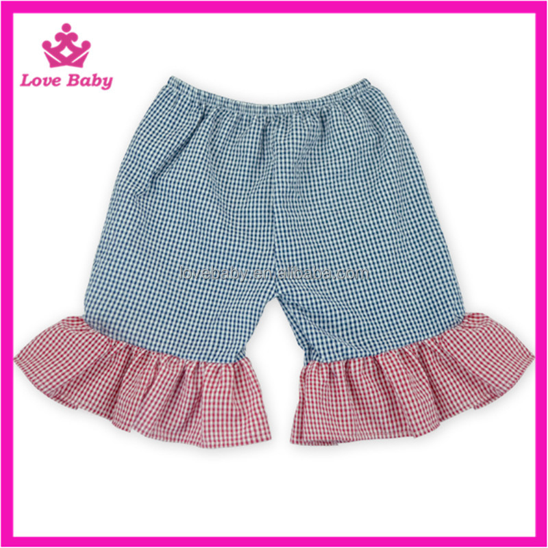 Linen Navy Plaid Splicing Pink Grid Kids Summer Shorts, Kids Fashion Trousers For Summer