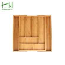 6 Compartments Totally Bamboo Expandable Kitchen Cutlery Tray with Two Adjustable drawer