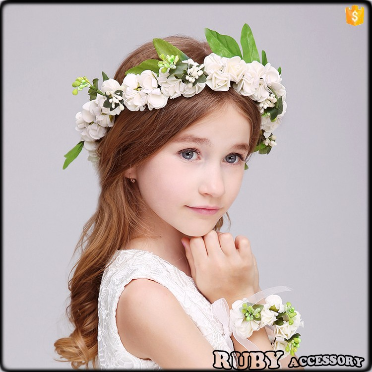 International Children's Day hair accessory ornaments baby flower headband girls wreath H0047