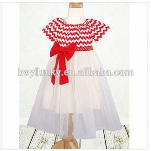 2015 wholesale summer fashion hot sale New white and red stripes girls yarn tutu tops fashion girls butterfly dresses