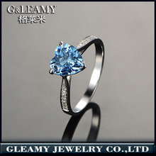 Fine Holiday Gift Jewellery Genuine Silver Heart Shape Finger blue topaz Rings