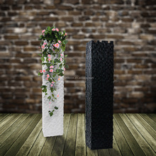 Top Quality Embossed Brick Wall Amazing Cubic Square Tall Pillar Polyresin Plant Pot Standing Column Flower Pot for Home Decor
