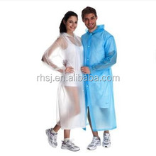 LDPE waterproof plastic raincoat emergency used disposable rain coat with hood