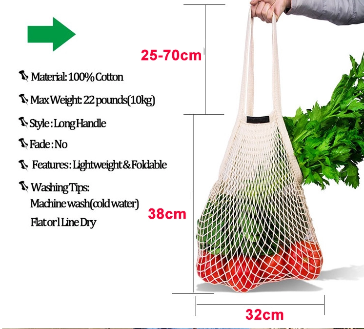 Shopping bag organic tote cotton mesh produce bag reusable