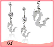Flying dragon dangling 316l steel belly jewelry navel ring