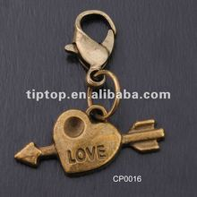 fashion,zinc alloy in antique brass color charm in heart with a arrow shape to match keychain, bracelet,necklace,bags etc