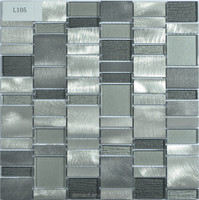 DBDMC glass mosaic bathroom tiles/ Aluminium mix Glass mosaics