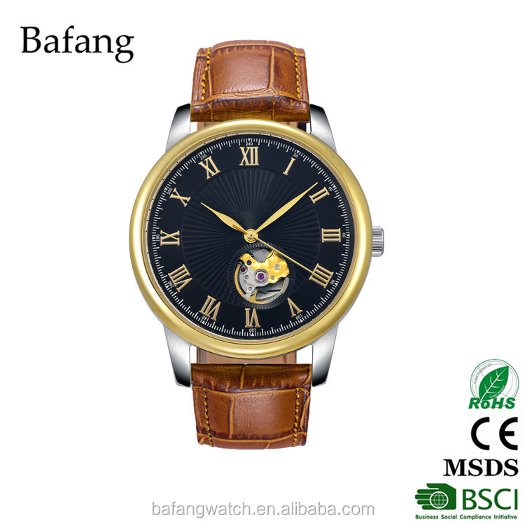 Brown genuine leather strap men mechanical watch no battery automatic watch