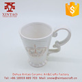 White ceramic sublimation coffee/travel mug/cup and saucer with crown design