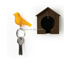 2014 Top sell Sparrow whistle Key Ring Birdhouse
