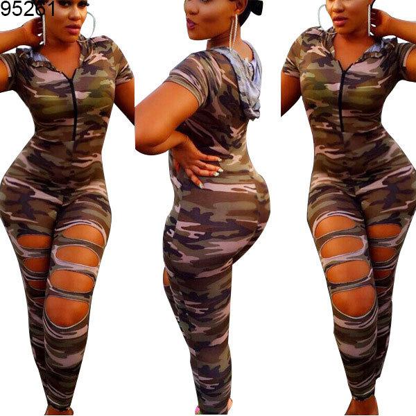 women elastic comouflage short sleeve slit designs jumpsuits fashion clothing