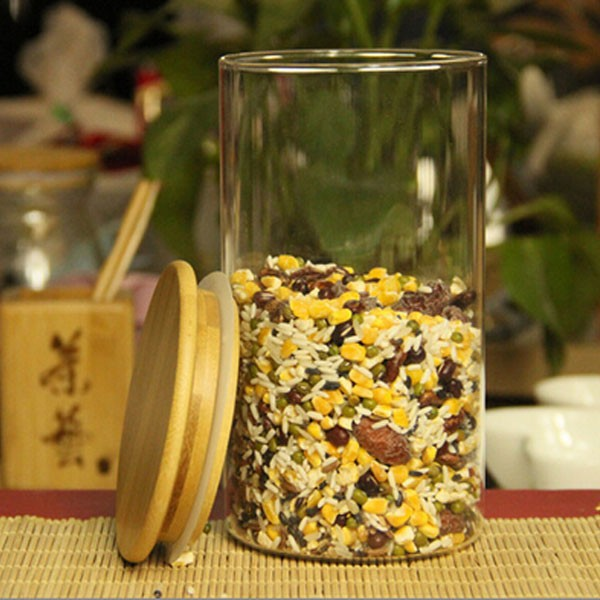 Glass Jar Food Storage Container with Wooden Bamboo Lid for Tea Corn Candy