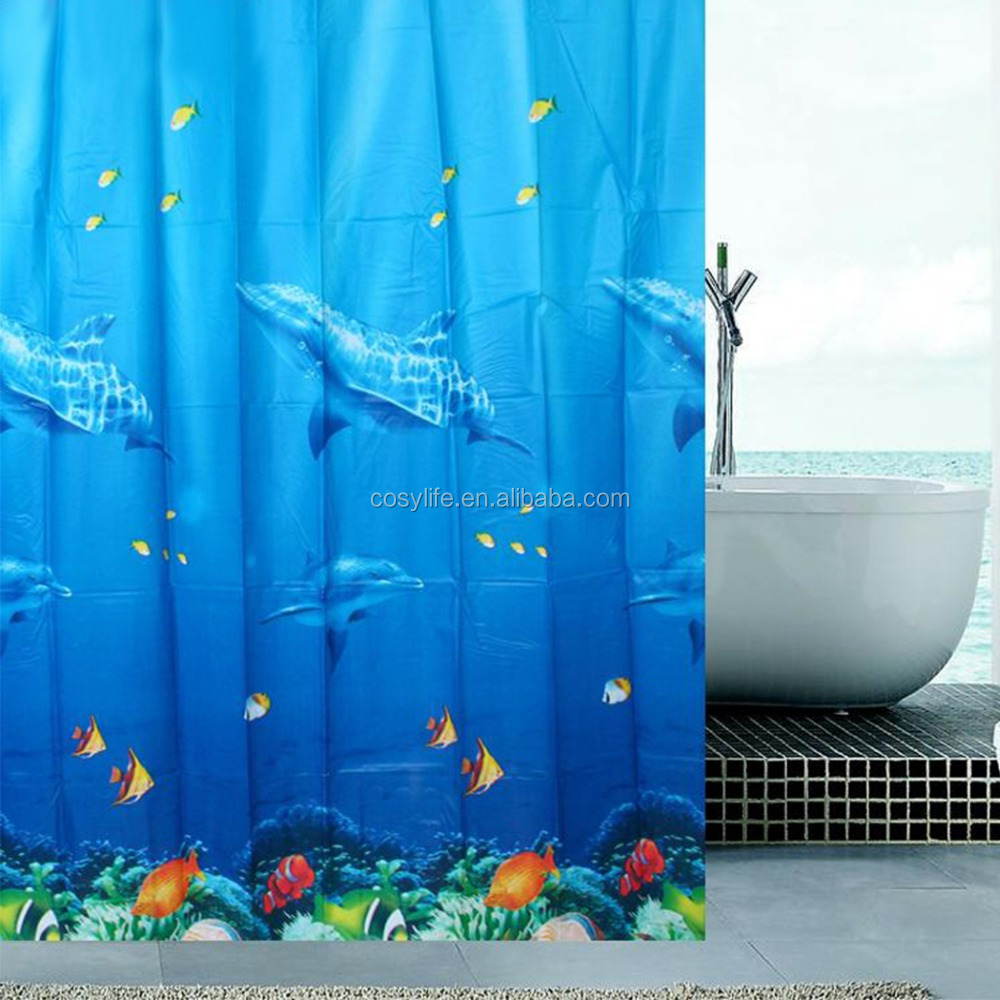 Waterproof Mouldproof Opacity Bath Shower Curtain With 12 Hooks (Ocean Submarine World Fishes)