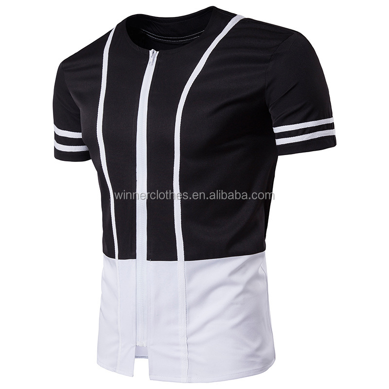 2017 black and white striped shirt with short sleeves