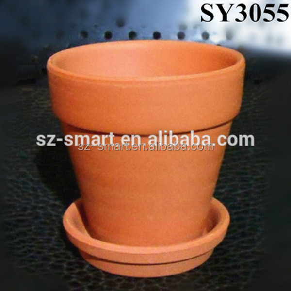 With tray round small terracotta clay pot