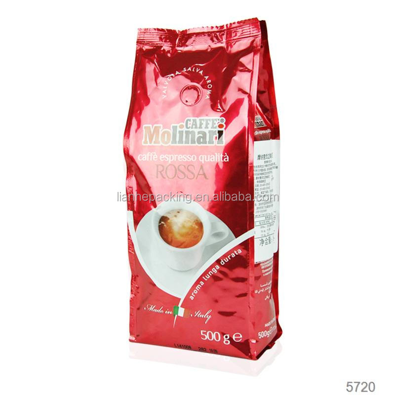 side gusset aluminum 500g coffee packing bags with custom logo