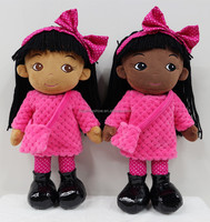 2017 Kids Gift OEM Custom Pretty Stuffed American African Girl Sex Doll Toy Plush Soft Cloth Rag Black Doll
