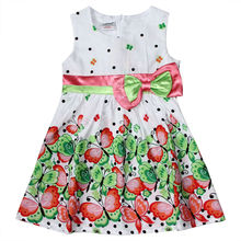 Ajiduo Latest children dress designs cute girls party dresses bowknot belt princess dresses for 1-6years old kid's