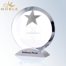 Blank Plaque Star Award Crystal Circle Trophy with Metal Base
