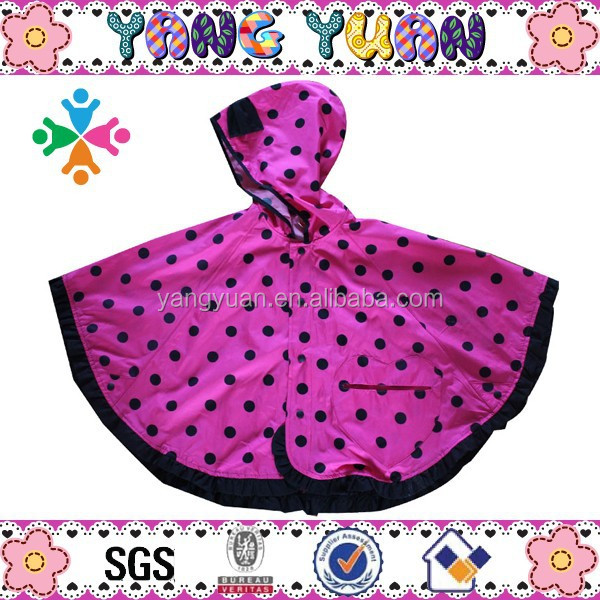 Girls Polyester Fabric Black Dots Poncho with Lace