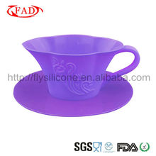 Purple FDA and LFGB Silicone Cupcake Molds Tea Shaped Popular in 2013