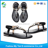 Lady's Blacy Sexy Flat Sole 2016 New Sandal Shoes