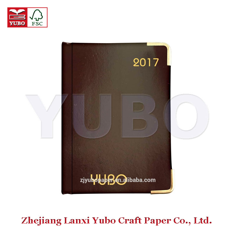 YB-3550 Yubo 2017 Korean copper angle calendar diary selling custom diary cover design