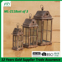Modern Vintage Heart Style Lantern Candle Holder Wood Ornament Display Gift ML-2118