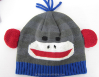 Cute children's knitted monkey animal winter beanie hat