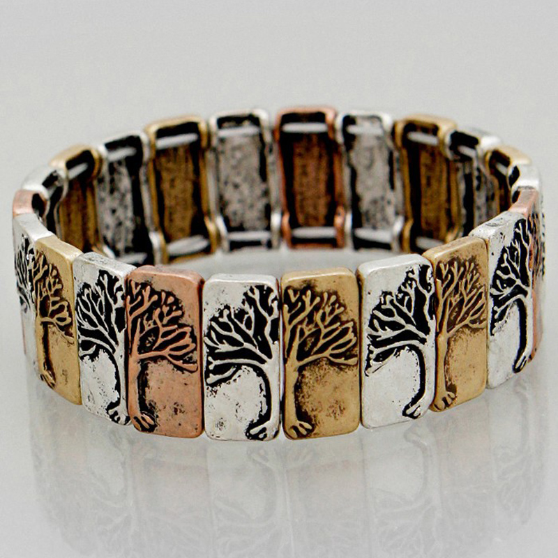 Burnished Tri Tone Tree Of Life Mosaic Linked Stretch Bracelets Alloy jewelry restoring ancient ways