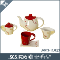Low price solid color bone china tea set porcelain