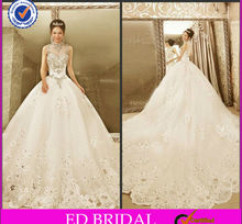 ED Bridal High Quality Sparkle High Neck See Tthrough Bodice Ball Gown Beaded Chapel Train Wedding Dresses 2017