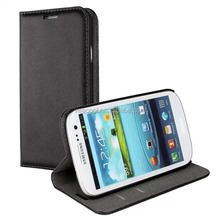 Black Stand Wallet Real Leather Case for Samsung Galaxy S3 i9300 case