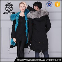 Men and women couple style long chinchilla real fur hooded winter coat