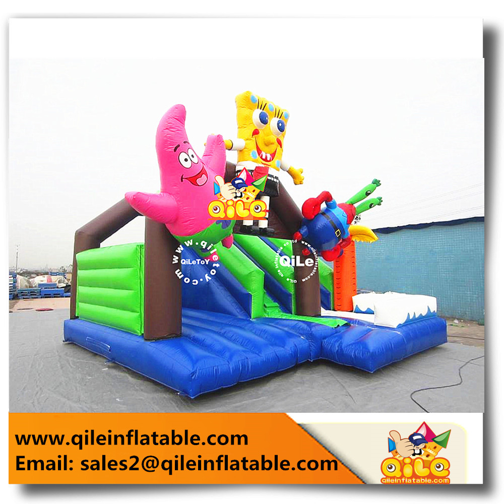 backyard cheap Inflatable bounce castle Sponge Bob N Patrick Star air jumping combo Slide fun party use for sale