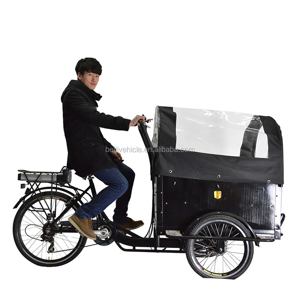 CE shopping bakfiets pedal assisted 3 wheel electric covered trike for cargo use