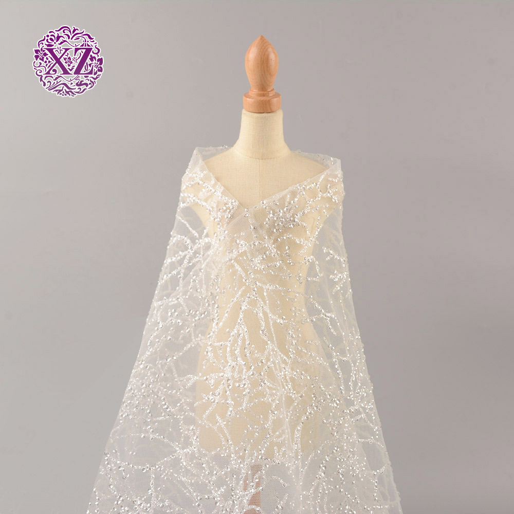 2020 Luxury Crystal Sequin Embroidered White Lace Glitter tulle <strong>Fabric</strong> For Wedding Dress