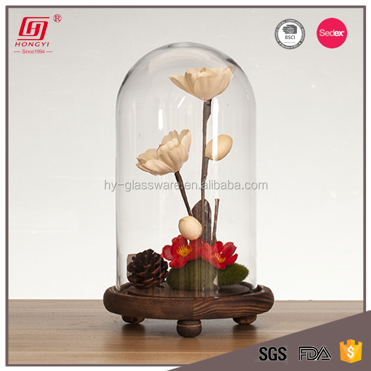 Wholesale cheap lead free clear flower glass dome with wood base
