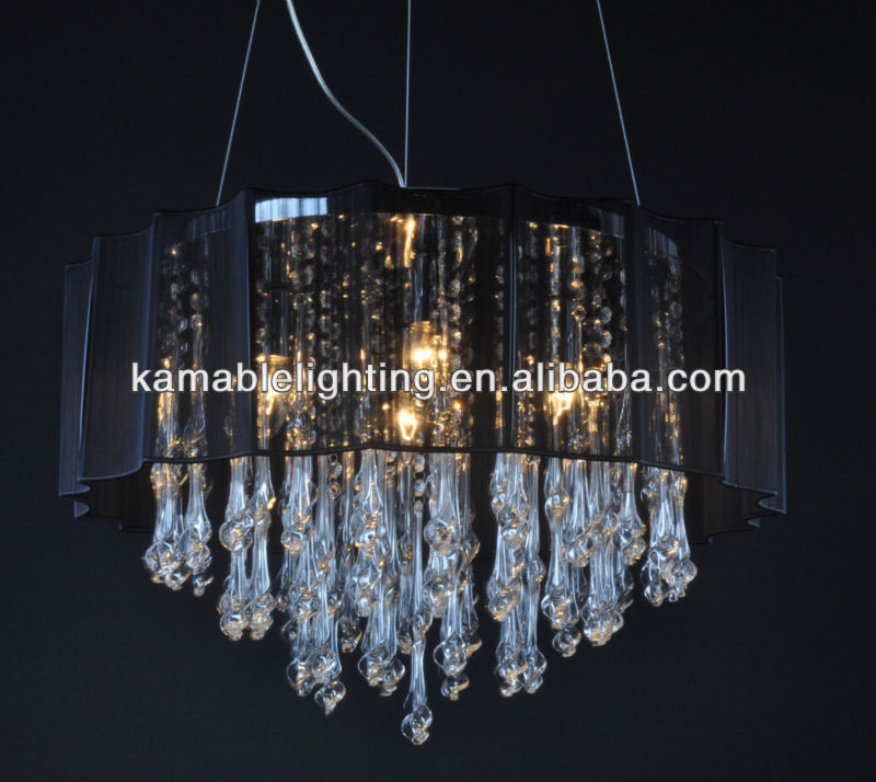 Fashion black string lampshade glass clear crystal chandelier