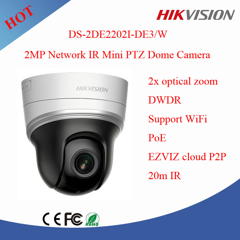 Hikvision 2 Mega 2x optical zoom ptz camera ir dome ip camera wifi with POE