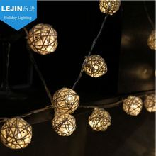 2AA 2m portable LED battery rattan ball light, battery operated rattan ball string lights, rattan ball decorative lights