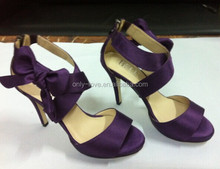 BS861 purple high heel satin sandals party shoes,wedding shoes